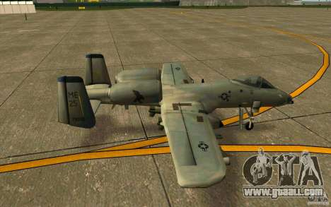 A-10 Warthog for GTA San Andreas back left view