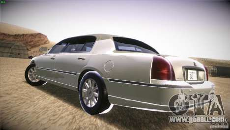 Lincoln Towncar 2010 for GTA San Andreas back left view