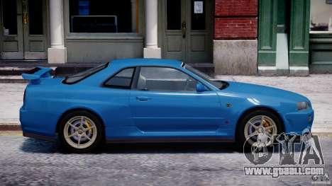 Nissan Skyline GT-R 34 V-Spec for GTA 4 bottom view