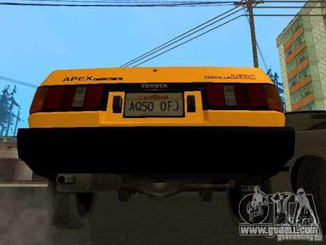 Toyota Corolla AE85 Levin GT-Apex for GTA San Andreas bottom view