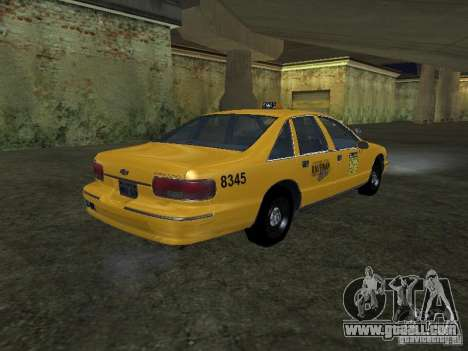 Chevrolet Caprice 1993 Taxi for GTA San Andreas back left view