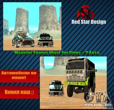 Monster Energy Vinyl for GTA San Andreas inner view