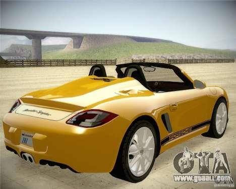 Porsche Boxter Spyder for GTA San Andreas back left view