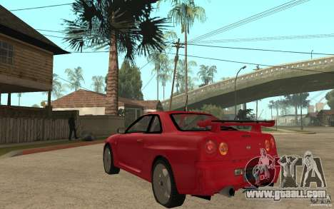 Nissan Skyline R34 GTR V-Spec for GTA San Andreas back left view
