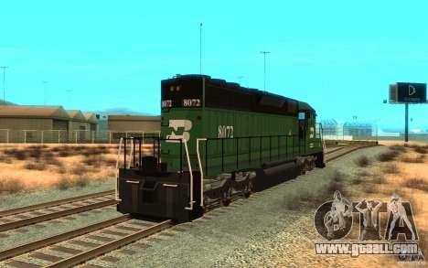 Locomotive SD 40 Burlington Northern 8072 for GTA San Andreas back left view