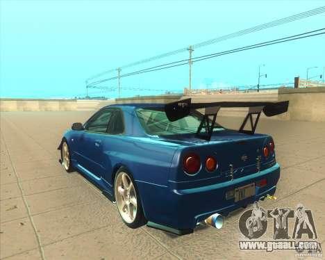 Nissan Skyline GT-R R34 M-Spec Nur for GTA San Andreas back left view