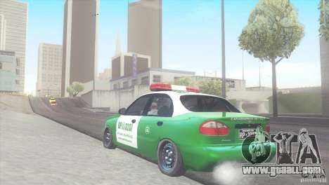 Daewoo Lanos De Carabineros De Chile for GTA San Andreas back left view