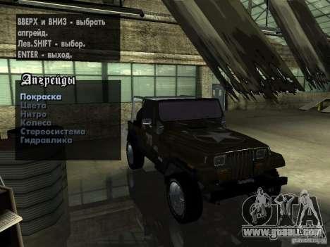 Jeep Wrangler 1986 4.0 Fury v.3.0 for GTA San Andreas back view