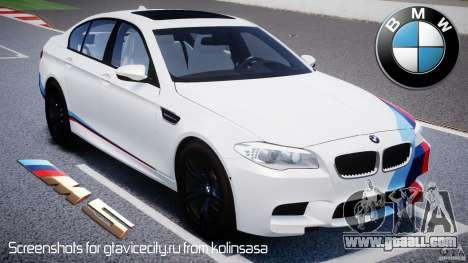 BMW M5 F10 2012 M Stripes for GTA 4