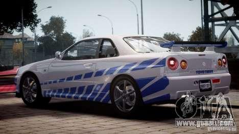 Nissan Skyline GT-R34 FNF for GTA 4 left view