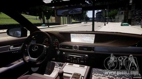 Lexus GS350 F Sport 2013 for GTA 4 upper view
