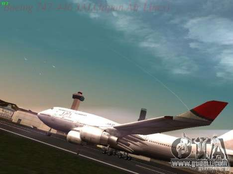 Boeing 747-446 Japan-Airlines for GTA San Andreas left view
