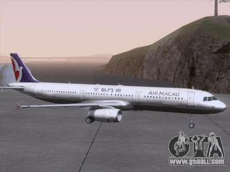 Airbus A321 Air Macau for GTA San Andreas upper view