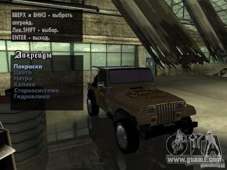 Jeep Wrangler 1986 4.0 Fury v.3.0 for GTA San Andreas inner view