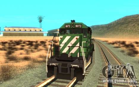 Locomotive SD 40 Burlington Northern 8072 for GTA San Andreas right view