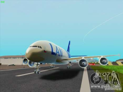 Airbus A380-800 Lan Airlines for GTA San Andreas left view