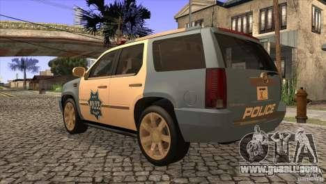 Cadillac Escalade 2007 Cop Car for GTA San Andreas back left view