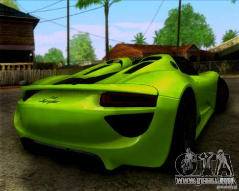 Porsche 918 Spyder Concept Study for GTA San Andreas left view