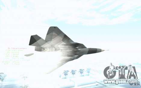 SU t-50 Pak FA for GTA San Andreas right view