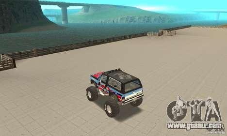 Chevrolet Blazer K5 Monster Skin 1 for GTA San Andreas back left view