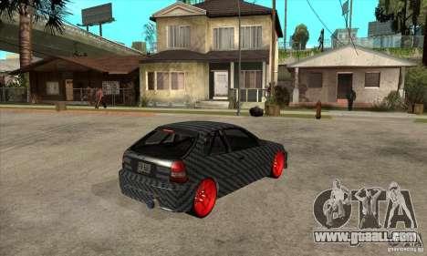 Honda Civic Carbon Latvian Skin for GTA San Andreas back view