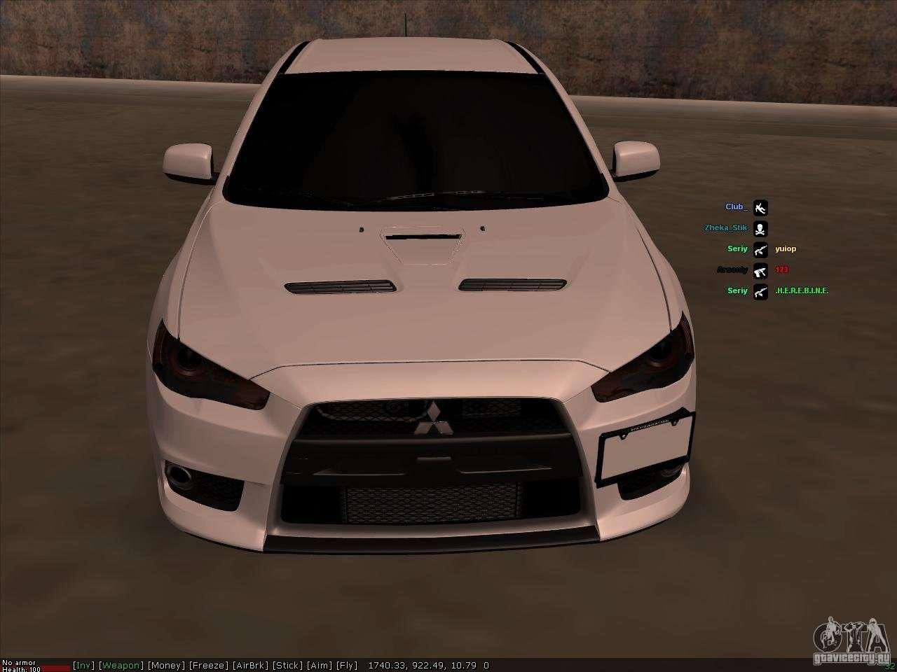 Mitsubishi Lancer Evolution X For GTA San Andreas Inner View