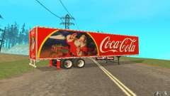 The semitrailer to the Peterbilt 379 Custom Coca