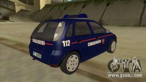 Opel Corsa 2005 Carabinieri for GTA San Andreas right view