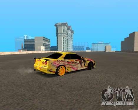 Nissan Skyline R34 Azusa Mera for GTA San Andreas back left view