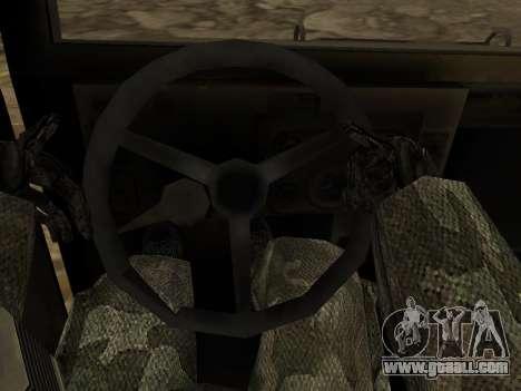 Hamvee M-1025 of Battlefiled 2 for GTA San Andreas inner view