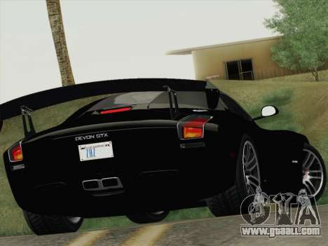 Devon GTX 2010 for GTA San Andreas upper view
