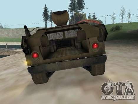 Hamvee M-1025 of Battlefiled 2 for GTA San Andreas back view
