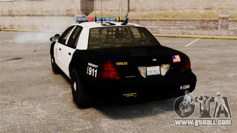 Ford Crown Victoria Police GTA V Textures ELS for GTA 4 back left view