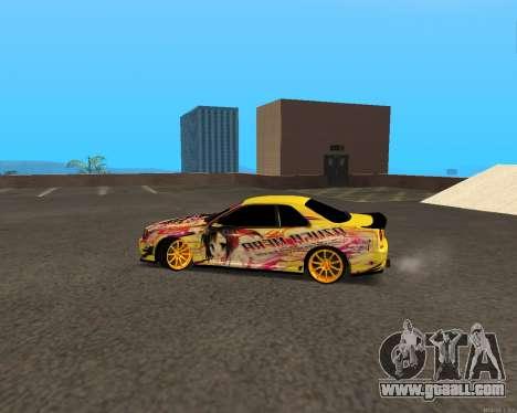 Nissan Skyline R34 Azusa Mera for GTA San Andreas left view