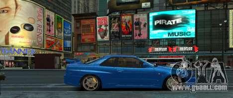 Nissan Skyline GTR-34 for GTA 4 back left view