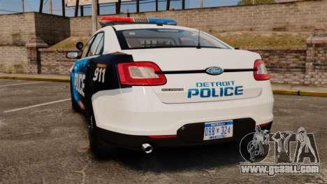 Ford Taurus 2010 Police Interceptor Detroit for GTA 4 back left view