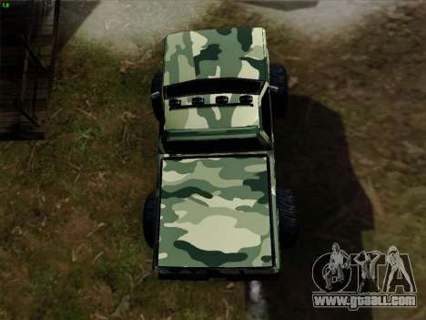 Camouflage for Monster for GTA San Andreas upper view
