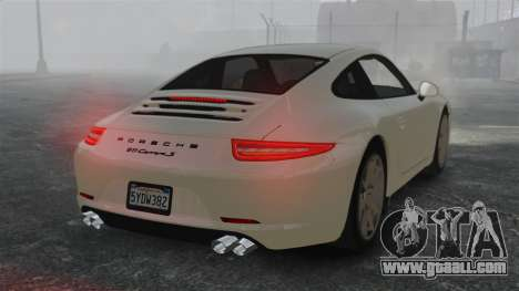 Porsche 911 Carrera S 2012 v2.0 for GTA 4 back left view