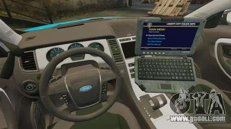 Ford Taurus 2010 Police Interceptor Detroit for GTA 4 inner view