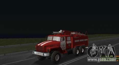 Ural 4320 Firefighter for GTA San Andreas back left view