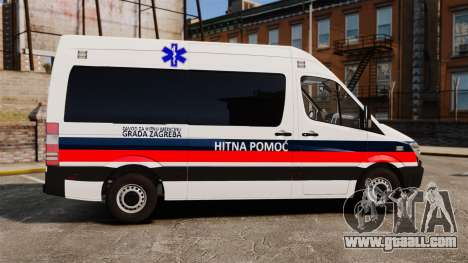 Mercedes-Benz Sprinter Zagreb Ambulance [ELS] for GTA 4 left view