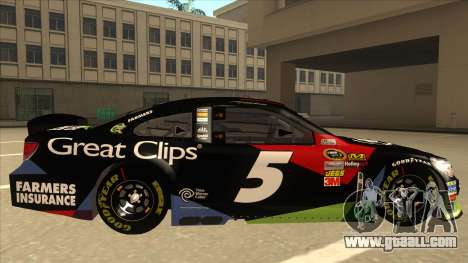 Chevrolet SS NASCAR No. 5 Great Clips for GTA San Andreas back left view