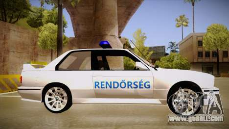 BMW M3 E30 Rendőrség for GTA San Andreas back left view
