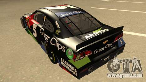 Chevrolet SS NASCAR No. 5 Great Clips for GTA San Andreas back view