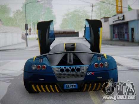 Koenigsegg CCX Elite for GTA San Andreas back left view