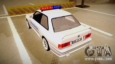 BMW M3 E30 Rendőrség for GTA San Andreas back view