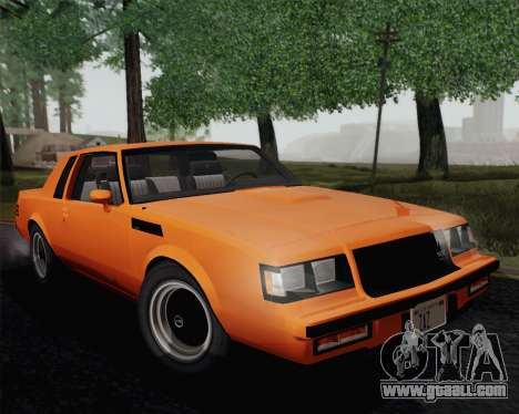 Buick GNX 1987 for GTA San Andreas bottom view