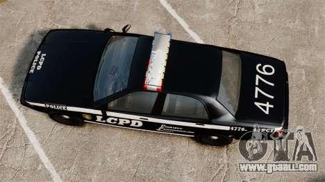 GTA V Vapid Police Cruiser [ELS] for GTA 4 right view