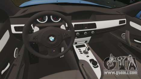 BMW M5 2009 for GTA 4 inner view