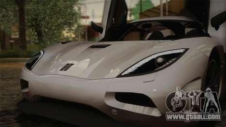 Koenigsegg Agera for GTA San Andreas interior